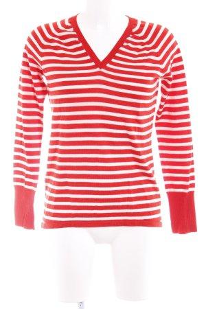 Stefanel Strickpullover rot-weiß Streifenmuster Casual-Look