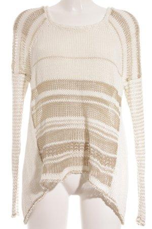Stefanel Strickpullover weiß-beige Streifenmuster schlichter Stil