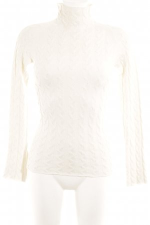 Stefanel Strickpullover wollweiß Zopfmuster Casual-Look