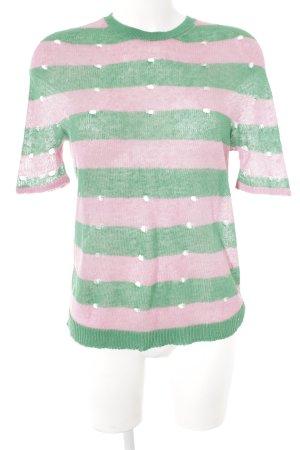 Stefanel Strickshirt rosa-grün Streifenmuster Casual-Look