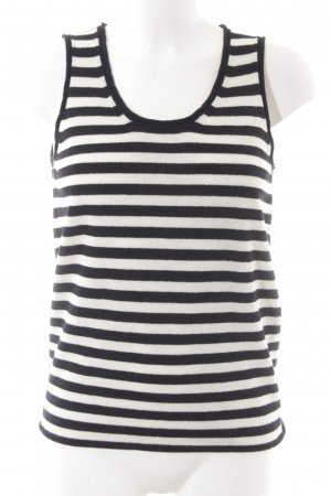 Stefanel Knitted Top black-natural white striped pattern Brit look