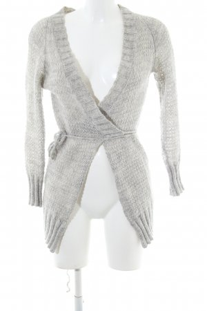 Stefanel Knitted Wrap Cardigan light grey-white flecked casual look