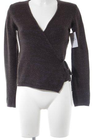 Stefanel Cache-cœur en tricot brun foncé-violet pailleté