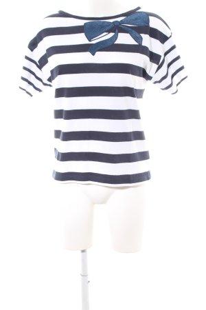 Stefanel T-Shirt blau-weiß Streifenmuster Casual-Look