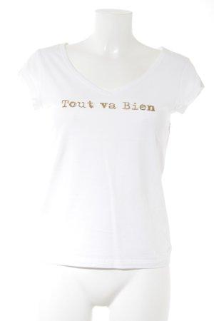 Stefanel T-Shirt weiß-goldfarben Schriftzug gedruckt Casual-Look