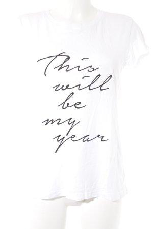 Stefanel T-Shirt weiß-schwarz Schriftzug gedruckt Casual-Look