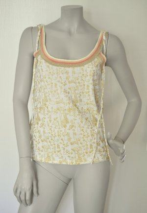 Stefanel Top weiß mit gold Baumwolle Gr. S