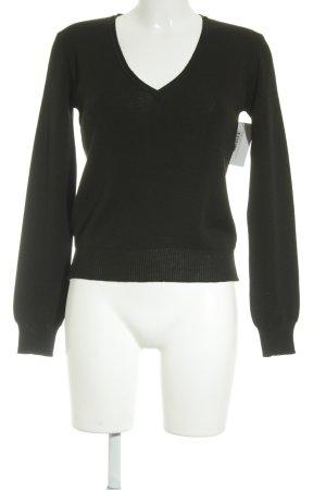Stefanel V-Ausschnitt-Pullover schwarz Casual-Look