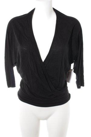 Stefanel Camisa con cuello V negro look casual