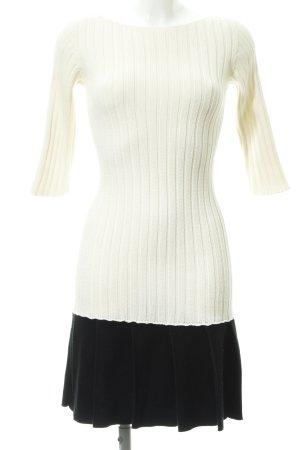 Stefanel Vestido estilo flounce blanco puro-negro elegante