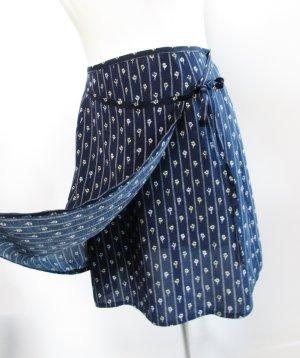 Stefanel Jupe portefeuille bleu foncé-blanc viscose