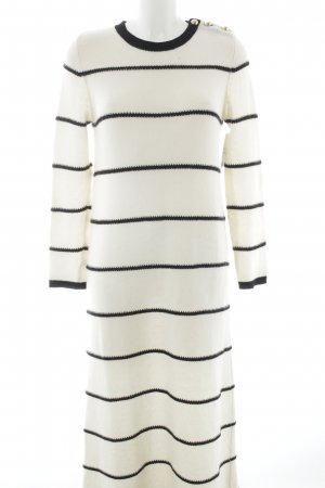 Stefanel Vestito di lana nero-bianco sporco motivo a righe stile casual