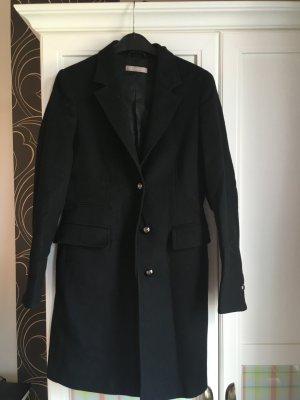 Stefanel Abrigo de lana negro tejido mezclado