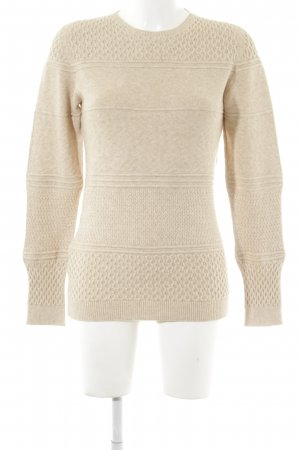 Stefanel Wollpullover creme Streifenmuster Casual-Look