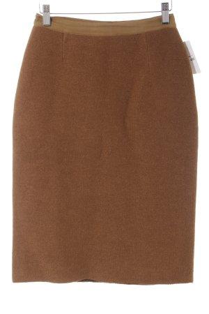 Stefanel Wool Skirt cognac-coloured casual look