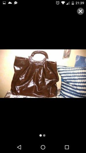 Stefanel XL Tasche dunkelbraun Lackoptik