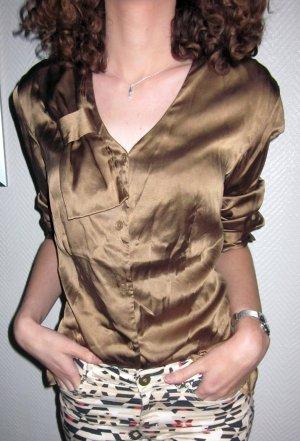 STEFFEN SCHRAUT Bluse SEIDE Seidenbluse Langarm festlich Abendgarderobe Longbluse große Schleife am V-Ausschnitt altgold farben Raffung Halsausschnitt hinten 36 38 S M