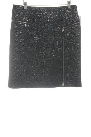 Steffen Schraut High Waist Rock schwarz-silberfarben abstraktes Muster Elegant