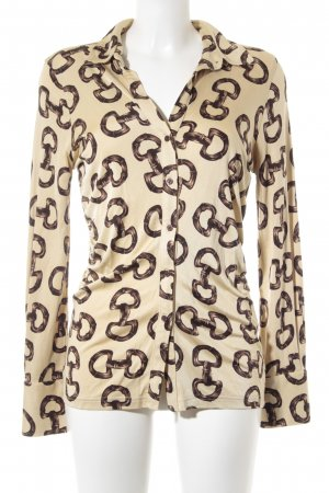 Steffen Schraut Langarm-Bluse beige-camel abstraktes Muster extravaganter Stil