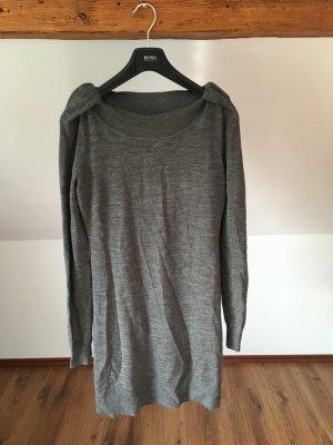 Steffen schraut Merinowolle Kleid 36 grau S 38 lang Strickkleid Strickpullover