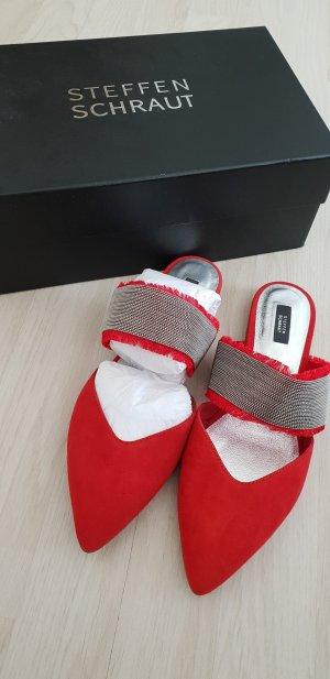 Steffen Schraut Heel Pantolettes silver-colored-brick red