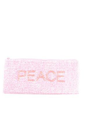 Steffen Schraut Pochette pink-orange embroidered lettering glittery