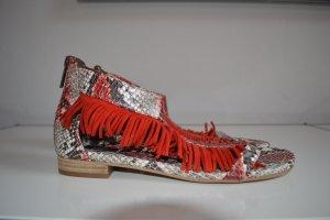 Steffen Schraut Romeinse sandalen grijs-neonrood Leer
