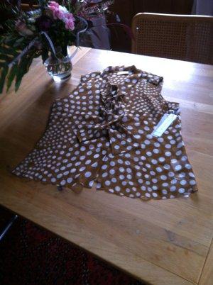 Steffen Schraut Blusa de seda marrón-blanco Seda