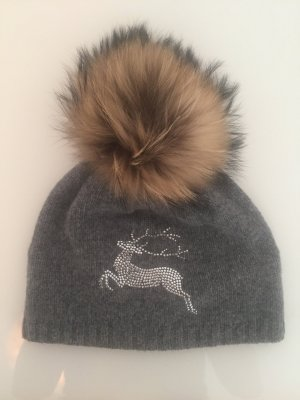 Steffner Mütze mit Echtfell Bommel Glitzer Fell Grau Wintermütze Wollmütze Hat