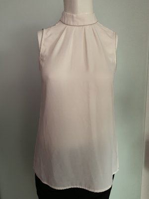 H&M Top de cuello de cisne blanco-color plata