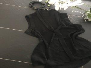 Stehkragenbluse glänzend schwarz