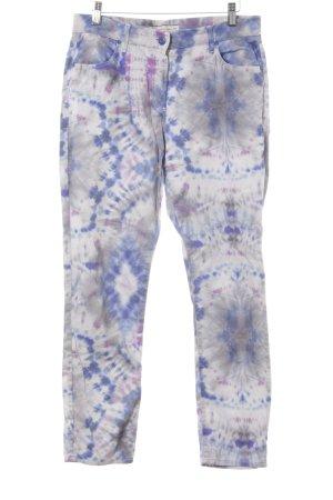 Stehmann Low-Rise Trousers blue violet-grey batik pattern casual look