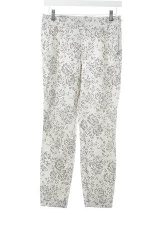 Stehmann Stretch broek licht beige-donkergrijs bloemenprint zakelijke stijl