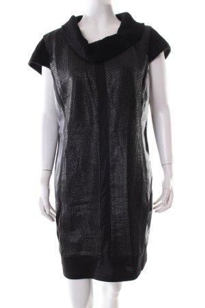 Steilmann A-Linien Kleid schwarz Webmuster Materialmix-Look