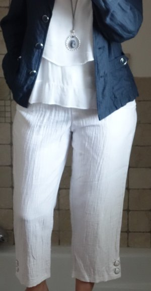 Steilmann Hose weiß  7/8 Hose in weiß, Leinen/Viskose,  wunderschönes knitterarmes Material, neuwertig, Gr. 38/40