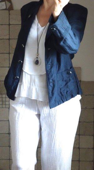 Steilmann Hosenanzug mit weißer Hose, lässiger Blazer, tailliert, große Knöpfe, dunkelblau, 7/8 Hose in weiß, Leinen/Viskose,  wunderschönes knitterarmes Material, neuwertig, Gr. 38/40