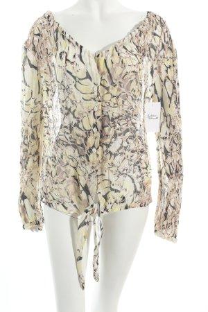 Steilmann Langarm-Bluse schwarz-limettengelb florales Muster Beach-Look