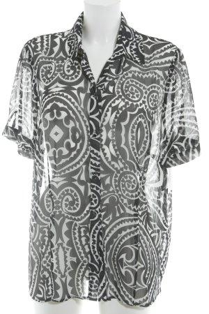 Steilmann Transparenz-Bluse schwarz-wollweiß abstraktes Muster Business-Look