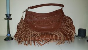 Fringed Bag cognac-coloured imitation leather