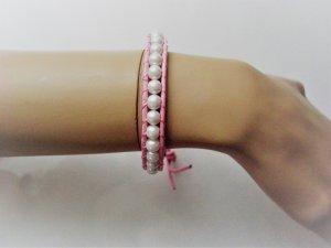 Stella Copenhagen Lederarmband mit Perlen in rosa Leder eingefasst