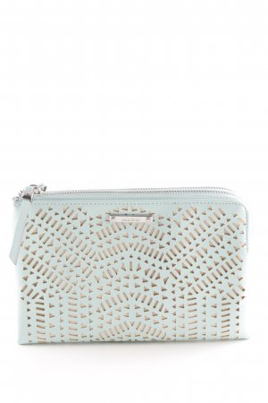 Stella & Dot Clutch hellbeige-türkis Zackenmuster Party-Look