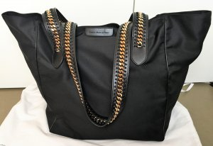 "* STELLA McCARTNEY * "" Falabella Go "" XL SHOPPER TOTE BAG Nylon schwarz KETTE gold -"