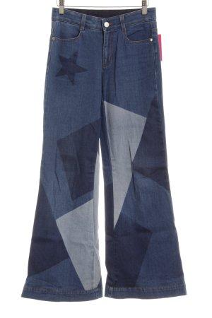 Stella McCartney Jeans a zampa d'elefante blu acciaio stile hippie