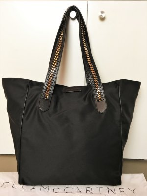 "* STELLA McCARTNEY *  NEU ! "" Falabella GO "" XL SHOPPER TOTE BAG WEEKENDER  Nylon schwarz KETTE gold -"
