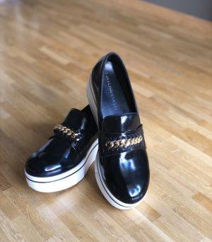 Stella McCartney Plateau Slipper / Loafer Gr. 40, Schuhe schwarz weiß gold