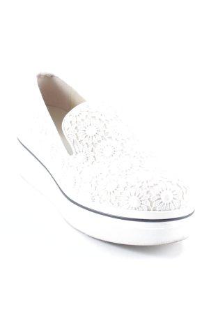 Stella McCartney Schlüpfschuhe weiß-creme florales Muster Spitzen-Optik