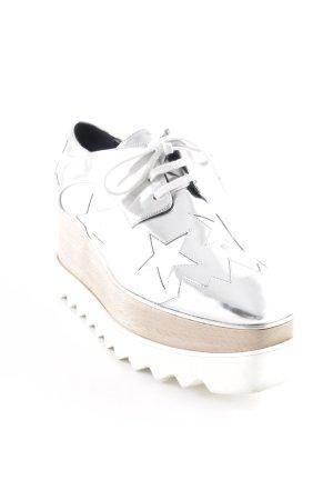 Stella McCartney Chaussures à lacets argenté Motif d'étoiles