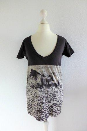 Stella McCartney Shirt Print Pferd Motiv lila grau weiß Gr. 38 S