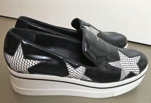 "* STELLA McCARTNEY *  Sneakers "" BINX "" Plateau LOAFER SLIP ONS schwarz Sterne weiß Eco Leather Gr 40 40,5"