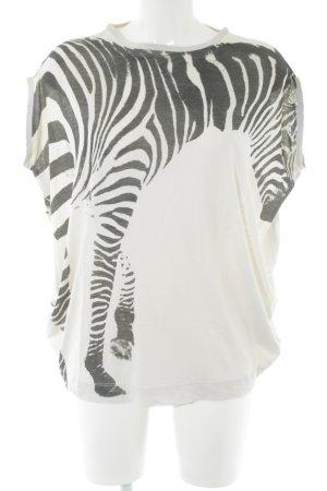 Stella McCartney Camiseta blanco puro-negro estampado de animales look casual